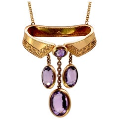 Antique Amethyst Gold Collar Necklace