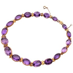 Antique Amethyst Gold Riviere