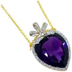 Antique Amethyst Heart Pendant Brooch