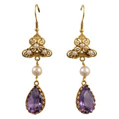 Antique Amethyst Pearl Dangle Hook Back Earrings 14 Karat Gold, circa 1920s