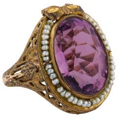 Antique Amethyst Pearl Ring, circa 1890