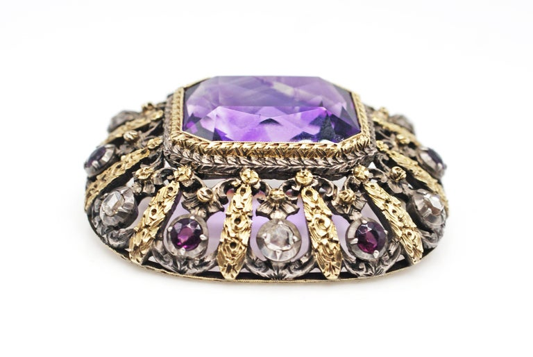 Victorian Antique Amethyst Rose Cut Diamond 18 Karat Gold Silver Brooch For Sale