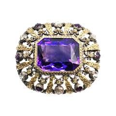 Antique Amethyst Rose Cut Diamond 18 Karat Gold Silver Brooch