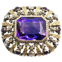 Antique Amethyst Rose Cut Diamond 18 Karat Gold Silver Brooch