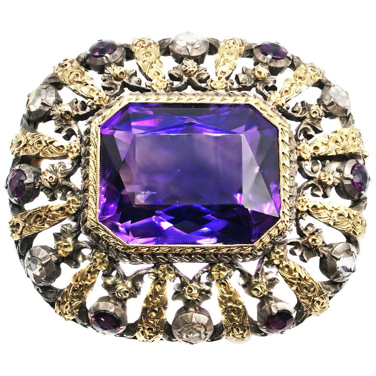 Antique Amethyst Rose Cut Diamond 18 Karat Gold Silver Brooch For Sale