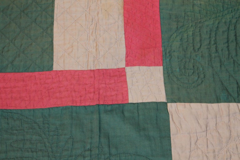 American Antique Amish Bars Quilt Lancaster County, Pennsylvania For Sale