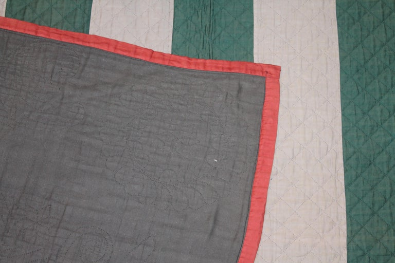 Mid-20th Century Antique Amish Bars Quilt Lancaster County, Pennsylvania For Sale