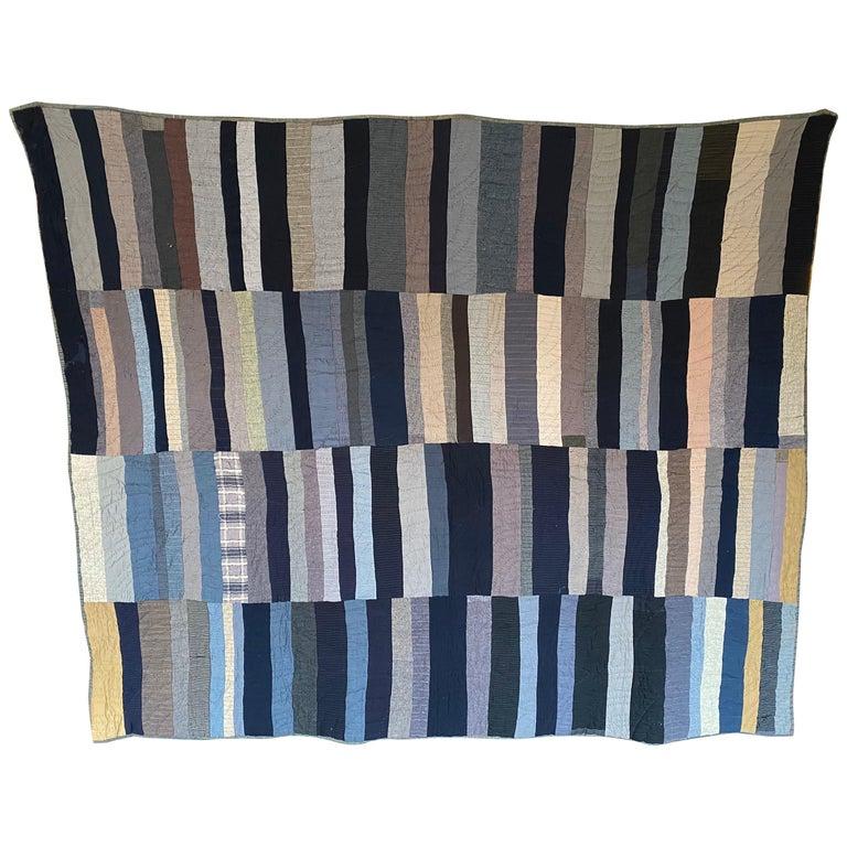 Antique Amish Multi Stripe Patchwork Quilt For Sale