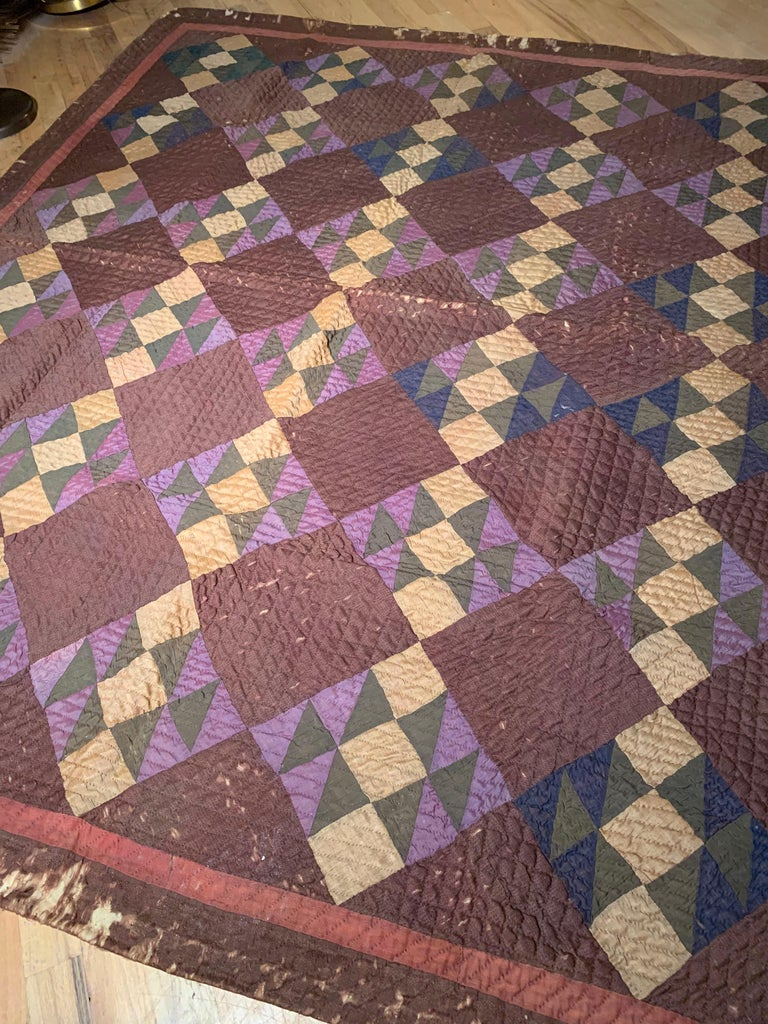 Country Antique Amish Quilt Blanket For Sale