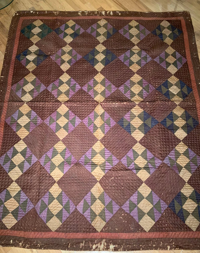 American Antique Amish Quilt Blanket For Sale