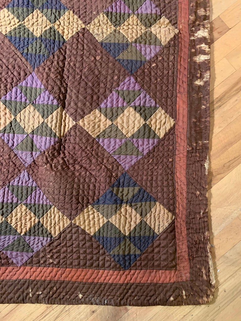 Antique Amish Quilt Blanket In Good Condition For Sale In Chicago, IL