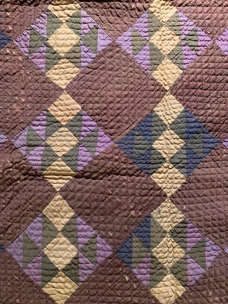 20th Century Antique Amish Quilt Blanket For Sale