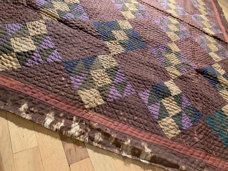 Fabric Antique Amish Quilt Blanket For Sale