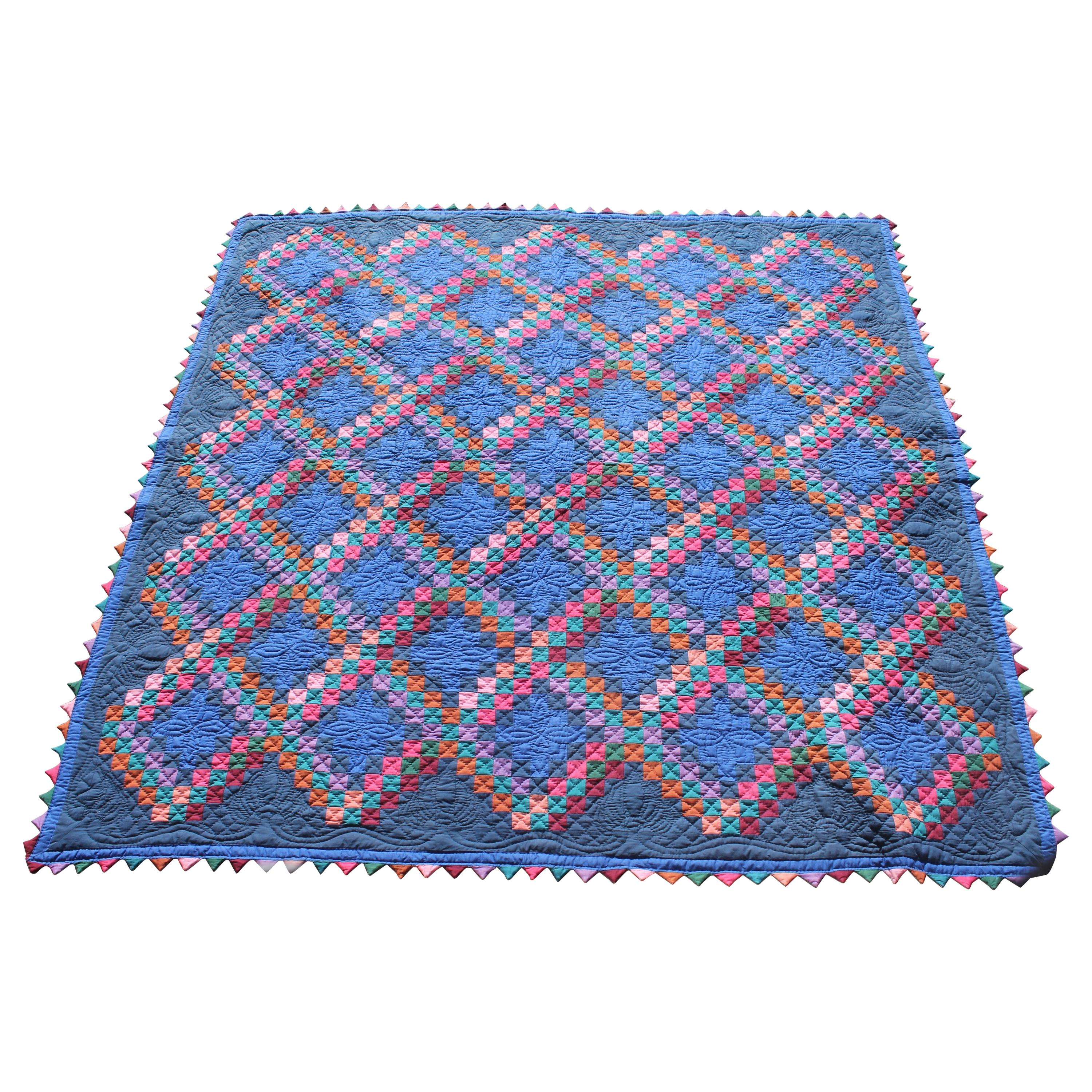 Antique Amish Quilt From Ohio Postage Stamp Chain