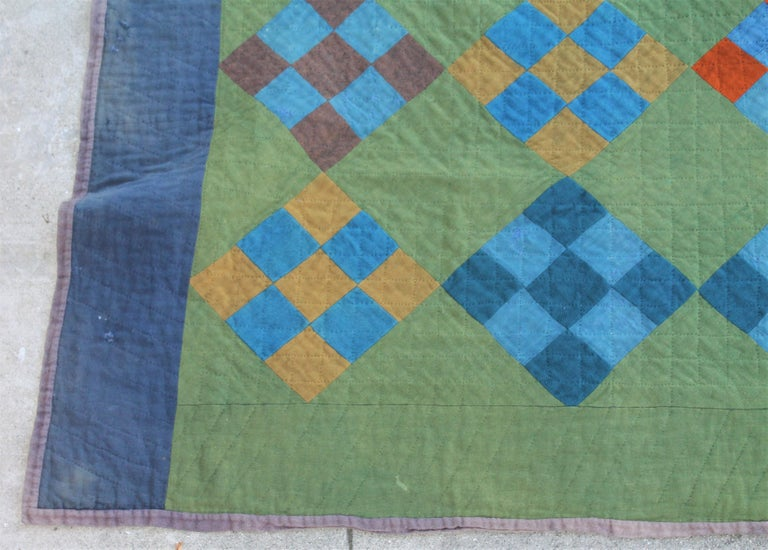 Country Antique Amish Quilt Nine Patch For Sale