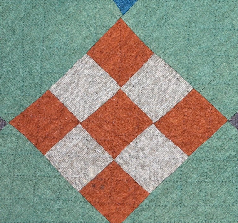 Antique Amish Quilt Nine Patch In Good Condition For Sale In Los Angeles, CA