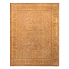 Antique Amritsar Beige-Brown Wool Floral Rug with Blue Field Accents