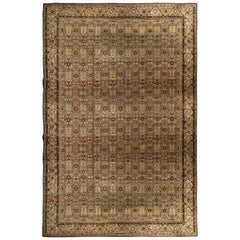 Antique Amritsar Green Blue and Cream White Wool Rug with Burgundy Accents