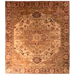 Antique Amritsar Rug Beige-Brown and Pink Rug with Heriz Style Medallion Pattern