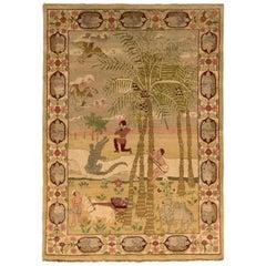 Antique Amritsar Rug Beige Green Pictorial Pattern