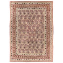 Antique Amritsar Rug with Paisley Pattern in, Lavender, Purple, Red, Salmon