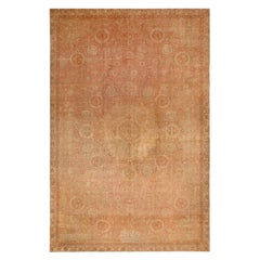 Antique Amritsar Traditional Beige and Pink Wool Floral Rug