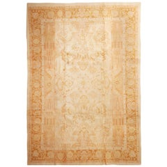 Antique Amritsar Traditional Cream Beige and Brown Wool Rug