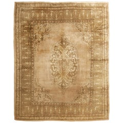 Antique Amritsar Transitional Beige and Tan Wool Rug