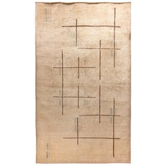 Antique Anatole Turkish Hand Knotted Art Deco Wool Rug, circa 1950
