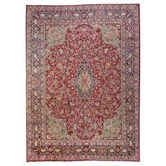 9.2 x 12.2 Ft Antique Persian Kashan Rug. Fine Traditional Oriental Carpet.