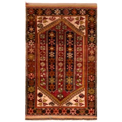 Antique Anatolian Geometric Red and Blue Wool Rug