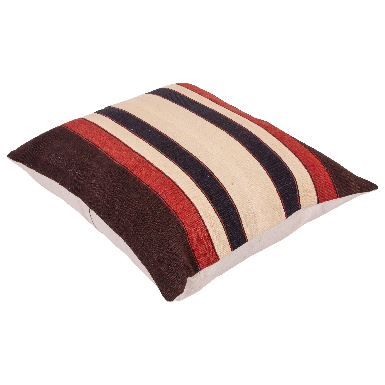 Antique Anatolian Kilim Pillow Case Fashioned from a 19th Century Kilim