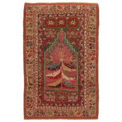 Antique Anatolian Transitional Pink and Green Wool Rug