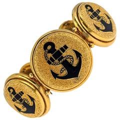 Antique Anchors Enamel Gold Link Bracelet