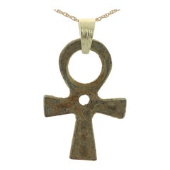 Antique Ancient Egyptian Ankh Key of Life Pendant 14 Karat Rich Patina 600BC