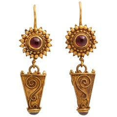 Antique Ancient Roman Gold and Garnet Earrings