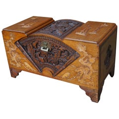 Antique and Complete, Hand Carved Teakwood Chinese Blanket Chest w. Fan Pattern