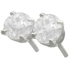Antique and Contemporary 1.03 Carat Diamond and Platinum Stud Earrings