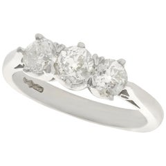 Antique and Contemporary 1.32 Carat Diamond Platinum Three-Stone Ring