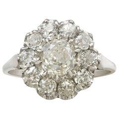 Antique and Contemporary 1.43 Carat Diamond and Platinum Cluster Ring