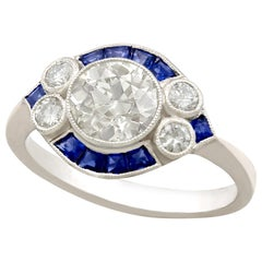 Antique and Contemporary 1.48 Carat Diamond and Sapphire Platinum Cocktail Ring