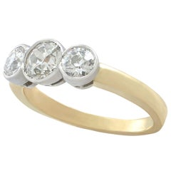 Antique and Contemporary 1.69 Carat Diamond and Yellow Gold Trilogy Ring
