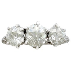 Antique and Contemporary 2.22 Carat Diamond and Platinum Trilogy Ring