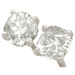 Antique and Contemporary 2.28 Carat Diamond and White Gold Stud Earrings