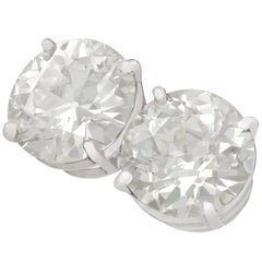 Antique and Contemporary 6.02 Carat Diamond and Platinum Stud Earrings