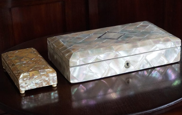 Biedermeier Antique and Extra Large Mother of Pearl Jewelry Box with Silver Lock and Hinges For Sale