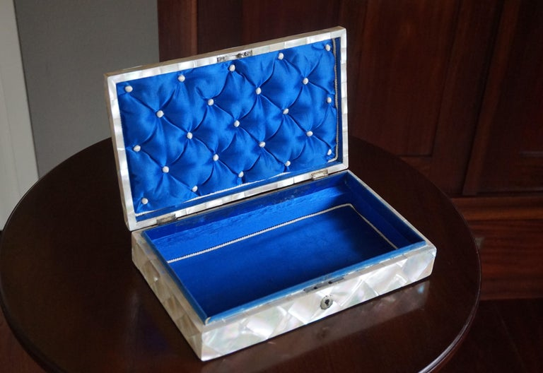 Dutch Antique and Extra Large Mother of Pearl Jewelry Box with Silver Lock and Hinges For Sale