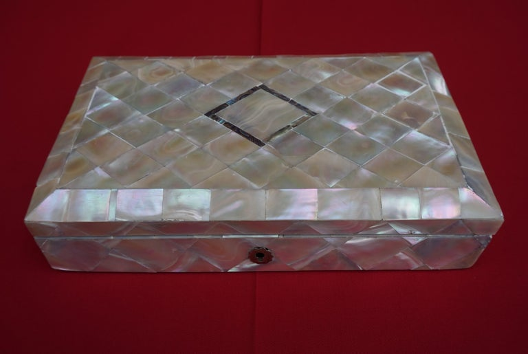 19th Century Antique and Extra Large Mother of Pearl Jewelry Box with Silver Lock and Hinges For Sale