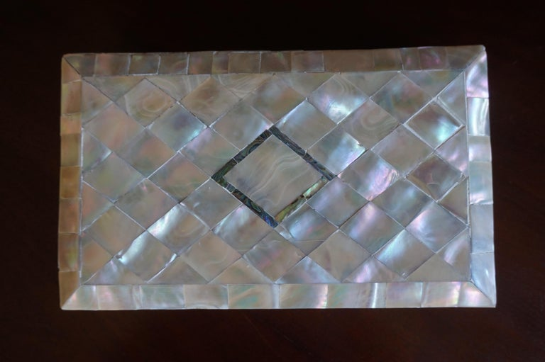 Fabric Antique and Extra Large Mother of Pearl Jewelry Box with Silver Lock and Hinges For Sale