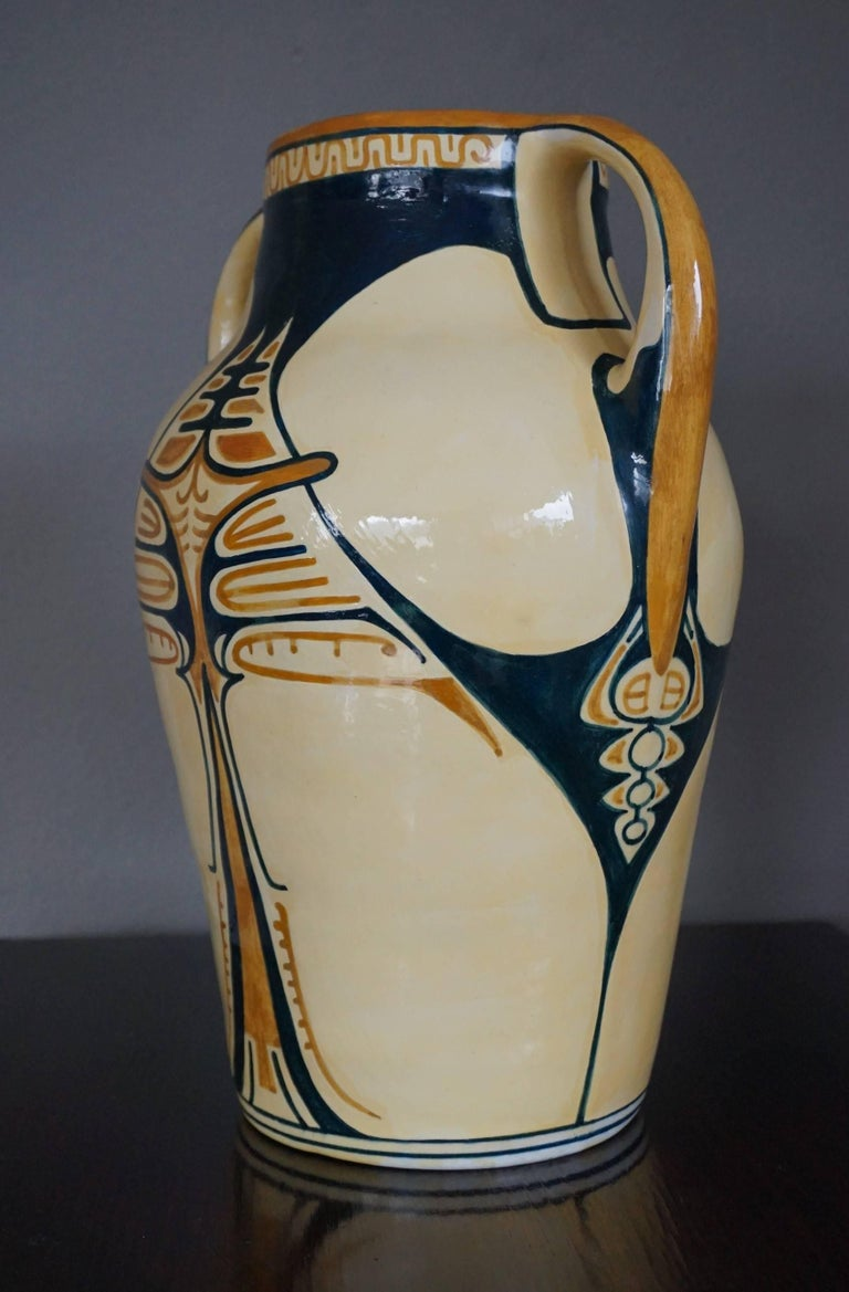 Antique And Hand Painted Dutch Arts And Crafts Dkp Dordtsche Kunst Pottery Vase For Sale At 1stdibs